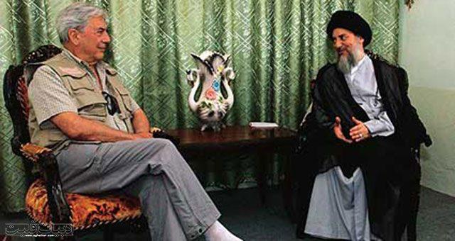 دیدار ماریو بارگاس یوسا با آیت الله سید محمدباقر حکیم در عراق