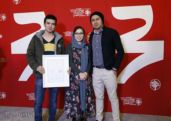 ثریا اخلاقی (صاحب اثر) علیاصغر حسینی و قاسم جمالی (از اجراکنندگان «کفشهای برهنه»)